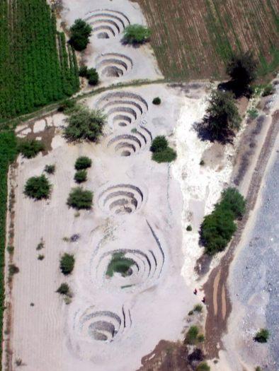 Nazca Puquios and Aqueduct system near Nazca in Peru, South America
