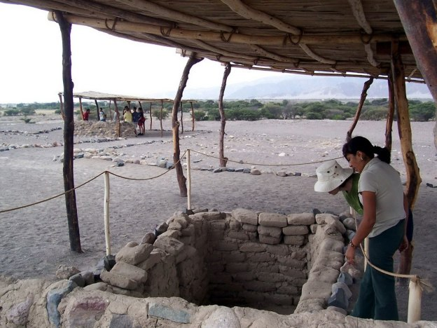 Open gravesite at the Chauhilla Cemetery near Nazca in Peru, South America.
