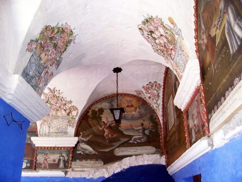 Painted ceiling of Orange Tree Cloister, Arequipa, Peru