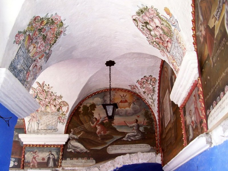 Painted ceiling of Orange Tree Cloister, Arequipa, Peru