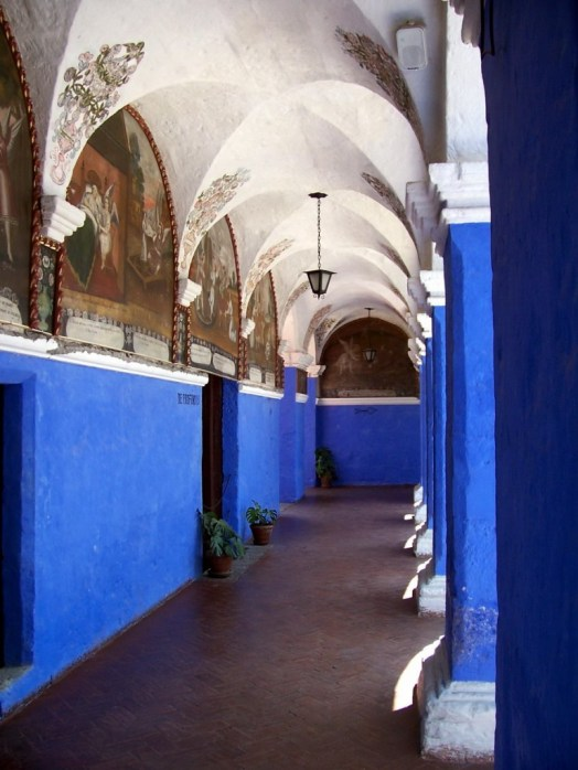 Painted hallways of the Orange Tree Cloister, Arequipa, Peru