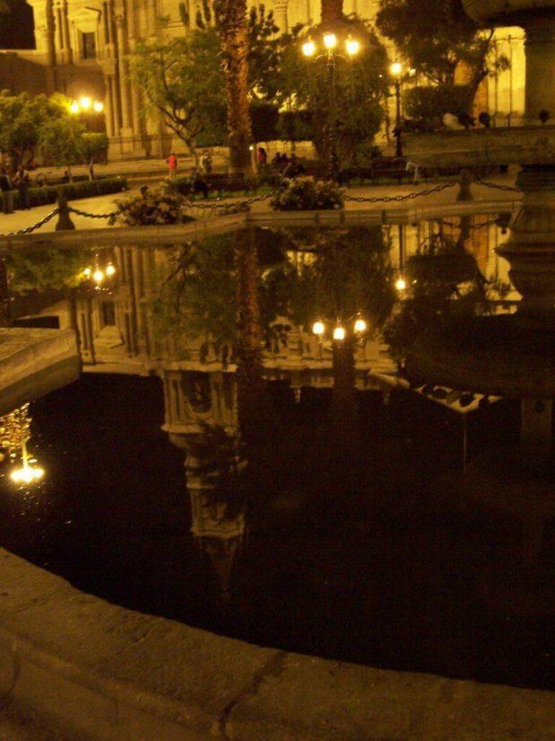 Evening lights, Plaza De Armas, Arequipa, Peru