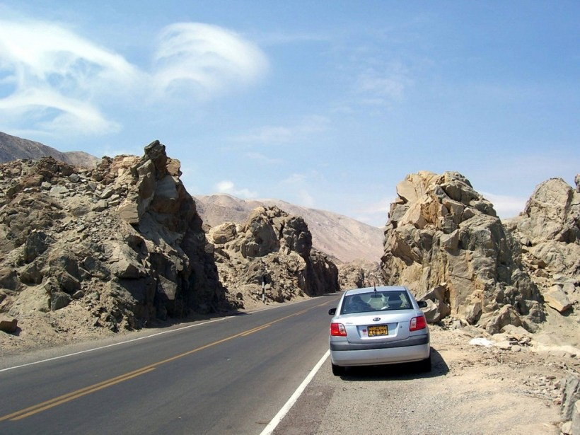 car pullover on pan american highway near nazca - peru - frame to frame