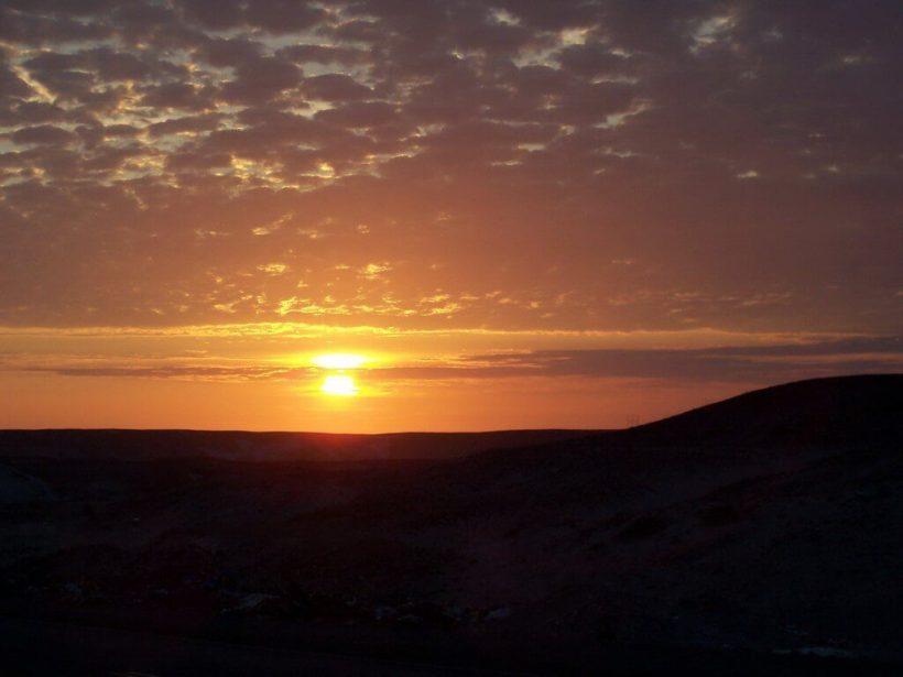 sunset in the desert near arequipa - peru