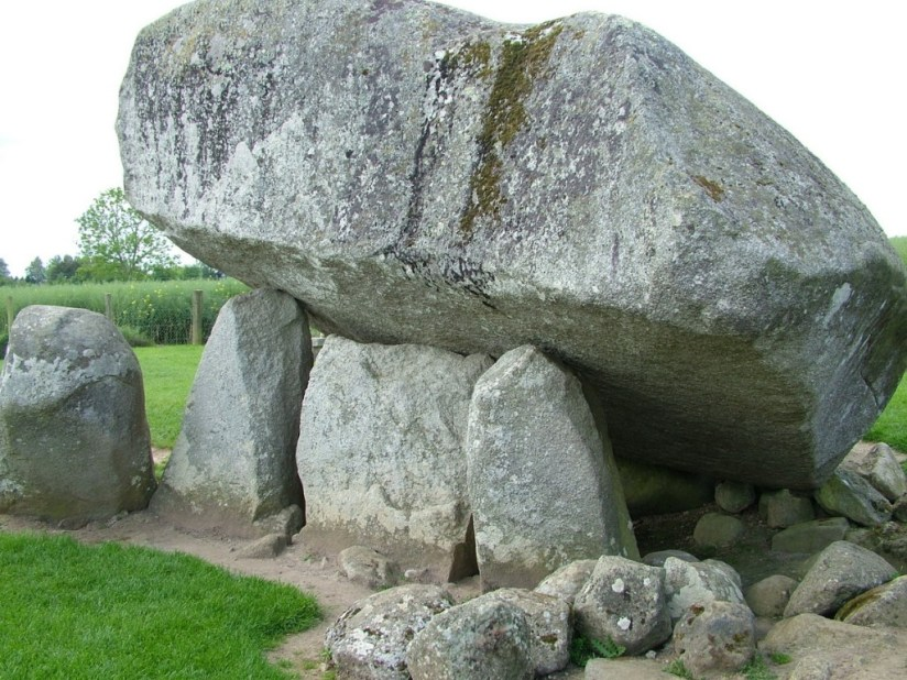 An image of the capstone sitting on top of the Brownshill Portal Tomb in County Carlow, Ireland. Photography by Frame To Frame - Bob and Jean.