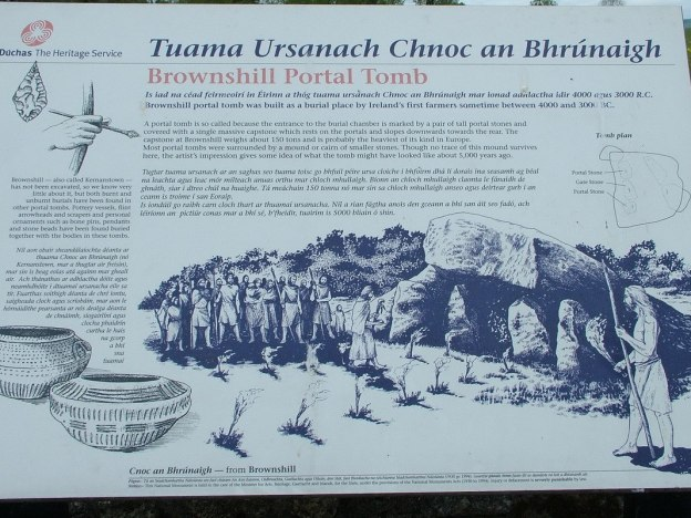 An image of the historical information sign at the Brownshill Portal Tomb in County Carlow, Ireland. Photography by Frame To Frame - Bob and Jean.