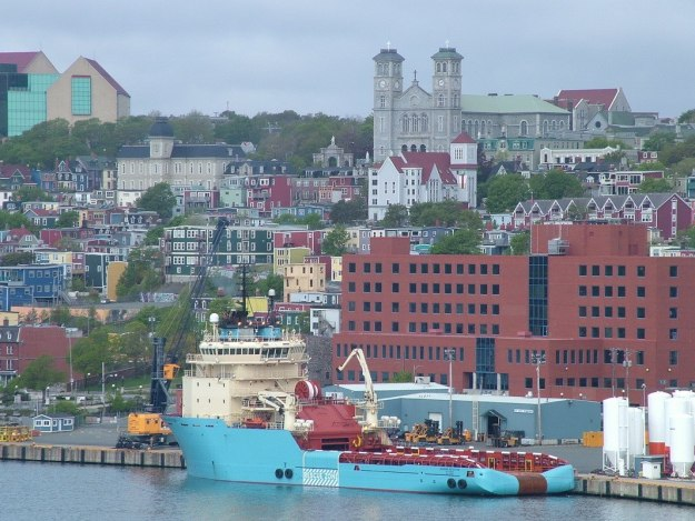 colorful St John's harbour and homes in Newfoundland - Canada