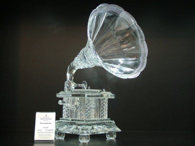 An image of a crystal gramophone at House of Waterford Crystal in Waterford, Ireland. Photography by Frame To Frame - Bob and Jean.