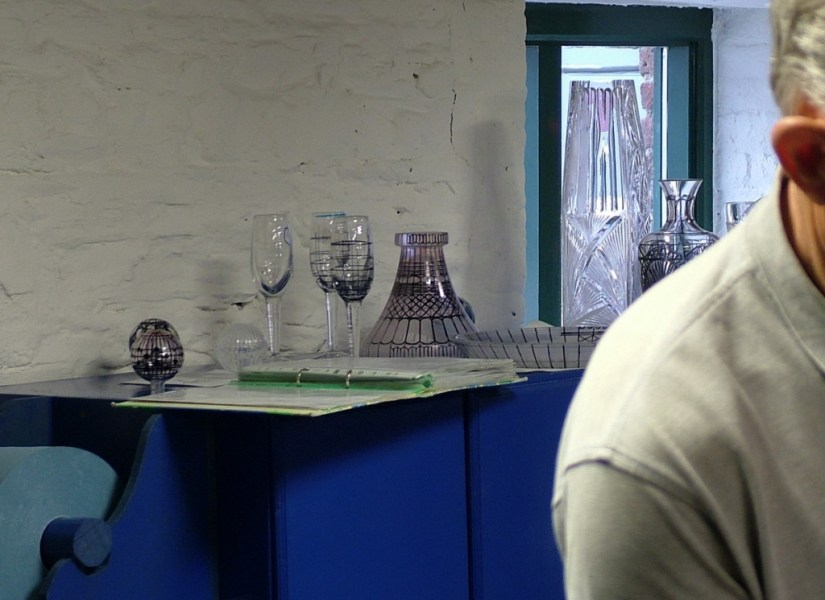 An image of various crystal objects with ink markings for cutting at the Waterford Crystal factory in Waterford, Ireland. Photography by Frame To Frame - Bob and Jean.