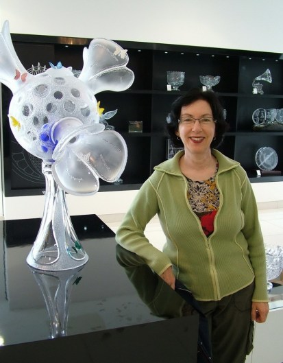 jean stands beside waterford crystal display - house of waterford crystal - ireland