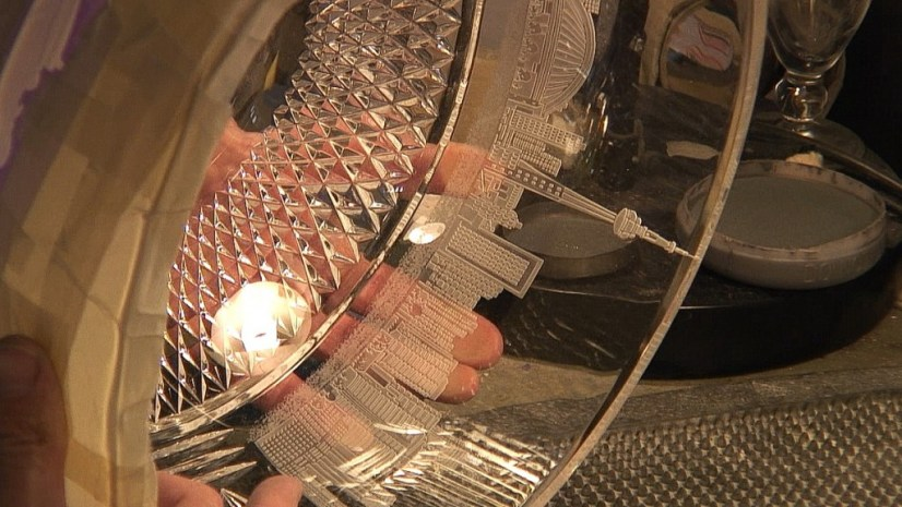 An image of the Toronto Indy trophy being carved at the Waterford Crystal factory in Waterford, Ireland. Photography by Frame To Frame - Bob and Jean.