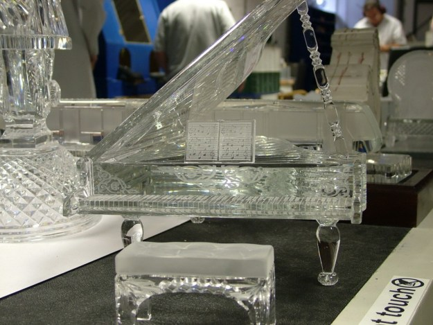 An image of a crystal piano at House of Waterford Crystal in Waterford, Ireland. Photography by Frame To Frame - Bob and Jean.