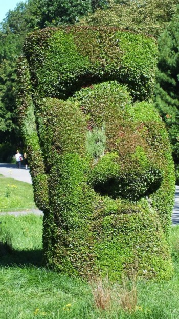 Guardians of the Island (closeup of head) - Mosaiculture - Montreal Botancial Gardens