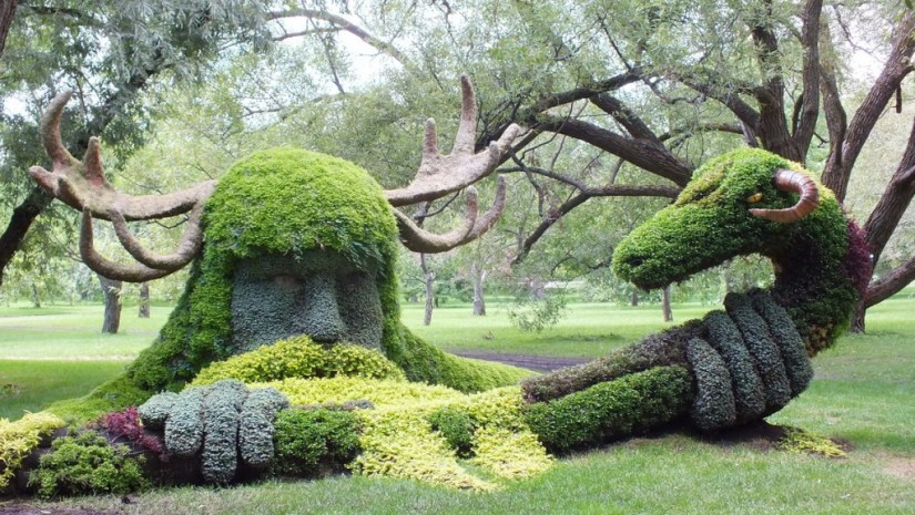 Spirits of the Wood, Cernunnos topiary at Mosaiculture 2013, at Montreal Botancial Garden, Montreal, Quebec, Canada