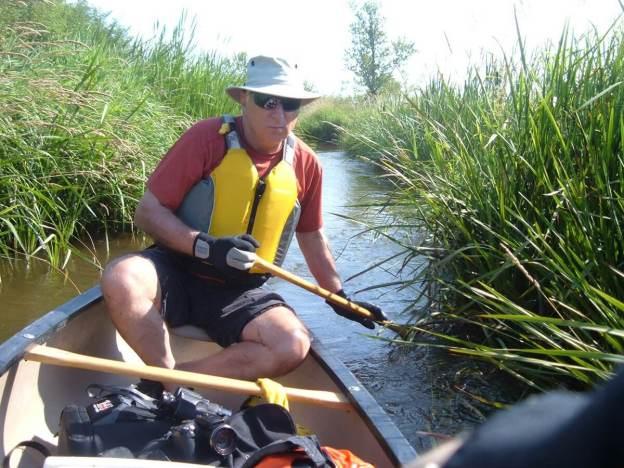 bob canoeing through minesing wetlands, ontario, frame to frame bob and jean