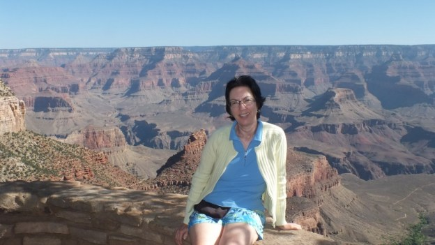 jean sitting on the south rim- grand canyon national park