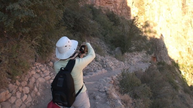 jean takes picture on bright angel trail