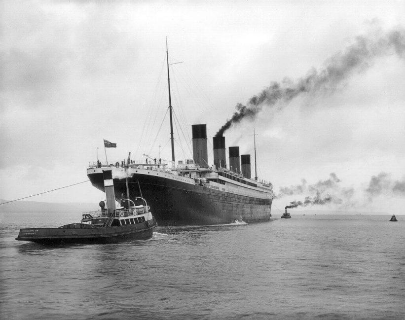 RMS Titanic leaving Belfast harbour in 1912