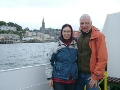 bob and jean depart cobh town by boat, ireland