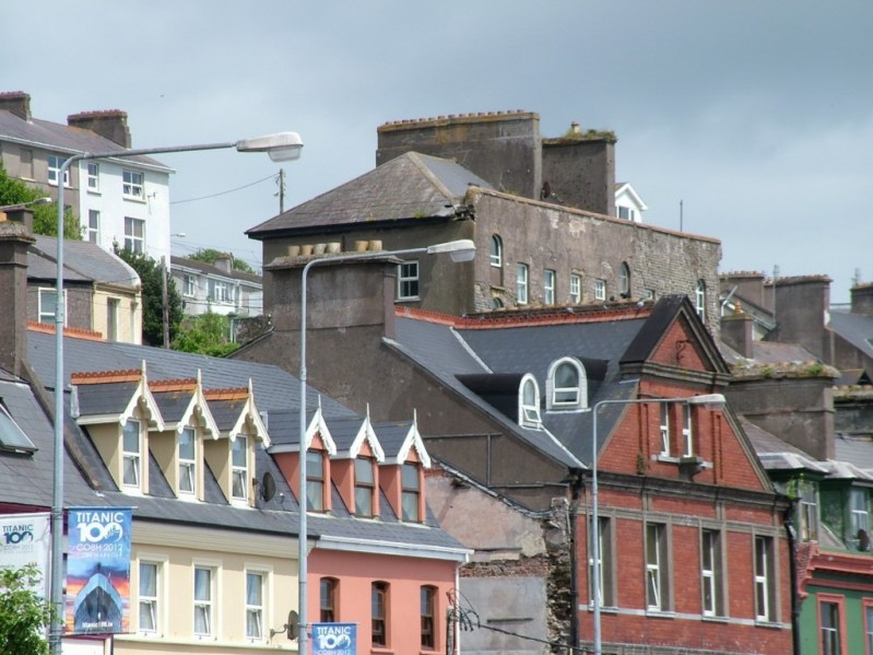 cobh, roof tops and walls, county cork , ireland