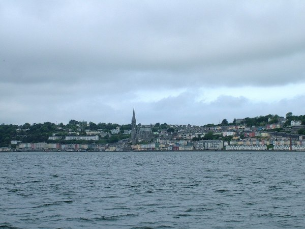 cobh town, distant view across harbour, titanic experience, county cork, ireland