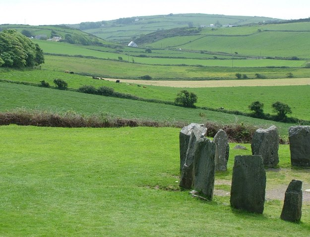 An image of the farm fields beside the Drombeg Stone Circle near Glandore in County Cork in Ireland. Photography by Frame To Frame - Bob and Jean.