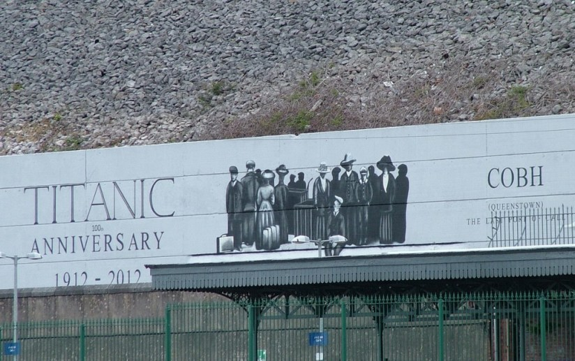 titanic 100 year anniversary sign, cobh, county cork, ireland