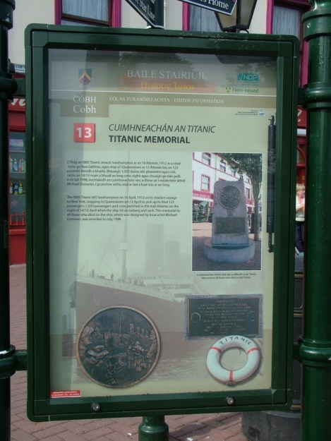 titanic memorial sign, cobh, county cork, ireland
