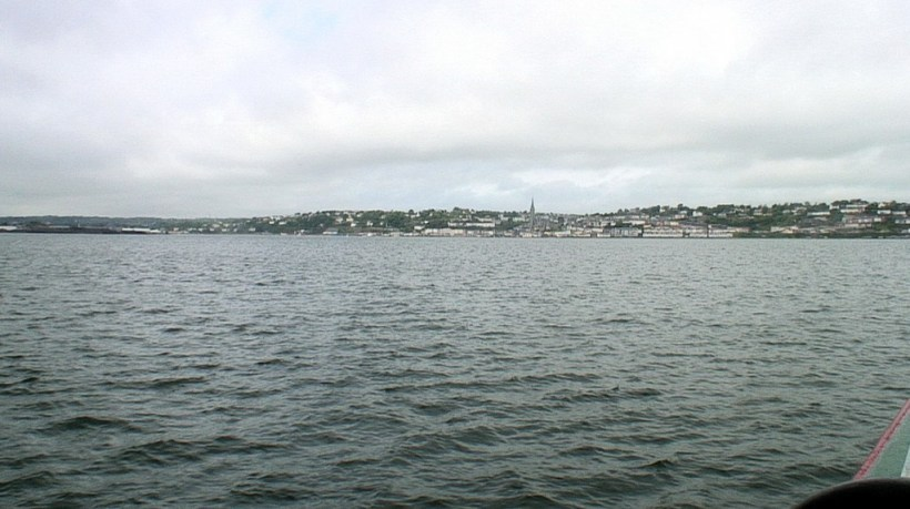 view of cobh town from titanic's last anchorage spot, cobh town, county cork, ireland
