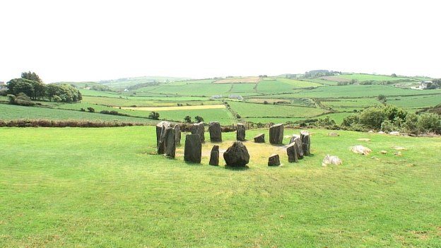Drombeg Stone Circle in a field east of Glandore, County Cork, Ireland.