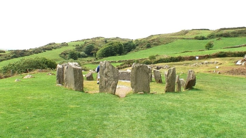 An image of the Drombeg Stone Circle looking towards the hills in County Cork, Ireland. Photography by Frame To Frame - Bob and Jean
