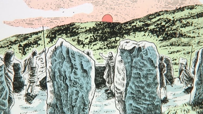 An image of a drawing of Iron Age people at the Drombeg Stone Circle near Glandore in County Cork in Ireland. Photography by Frame To Frame - Bob and Jean.