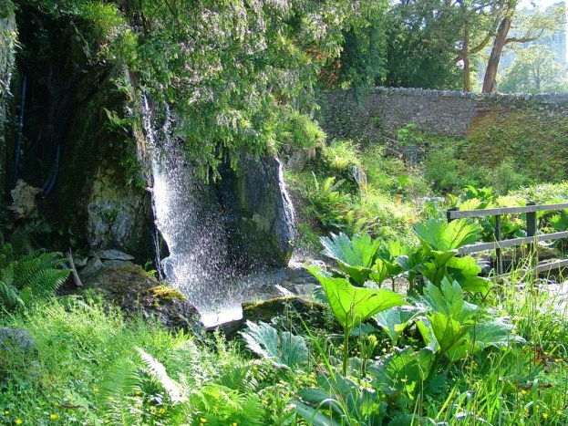 Waterfall and lush plants at Blarney Castle in County Cork, Ireland