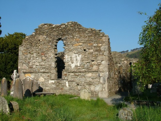photograph of the church ruins at Glendalough, Co. Wicklow, Ireland.