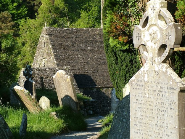 photograph of St. Kevin's Church at Glendalough, Co. Wicklow, Ireland.