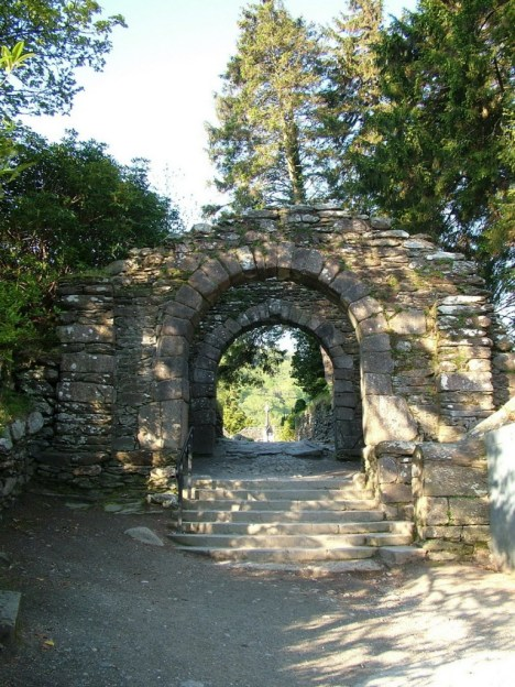 photograph of the Main Gate to St. Kevin's Church at Glendalough, Co. Wicklow, Ireland.