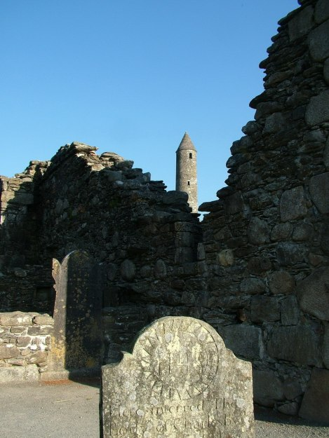 View of The Round Tower from inside Glendalough Cathedral - Ireland