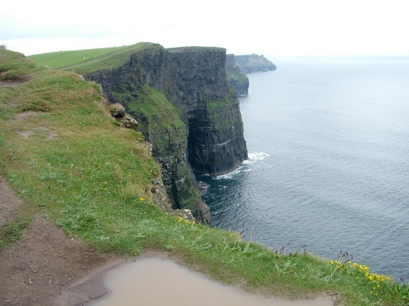 Hiking trail at the top of the Cliffs of Moher in County Clare, Ireland