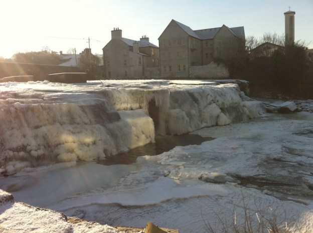 frozen waterfalls at Ennistymon, Ireland, in 2010