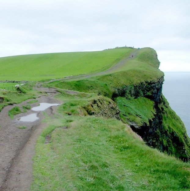 muddy trail along cliffs of moher
