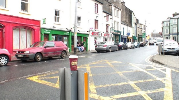 Tim Hortons coffee cup on street post in Ennistymon, County Clare, Ireland