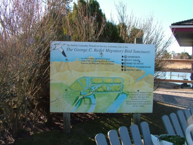 Entrance sign and map at Reifel Migratory Bird Sanctuary in Delta, BC, Canada