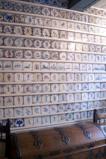 blue tiles in antique shop - delft - the netherlands