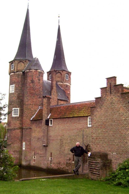 bob beside Oostpoort - east gate in delft - netherlands