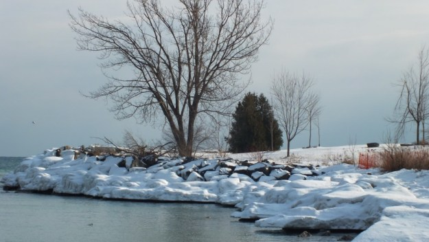 icy shoreline at bluffers park - toronto - ontario