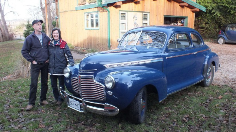 jean beside 1941 Chevrolet special deluxe Business Coupe - 1