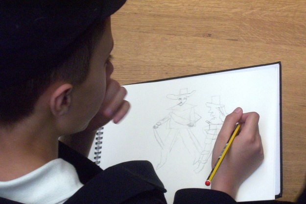 student sketches the night watch by rembrandt van rijn