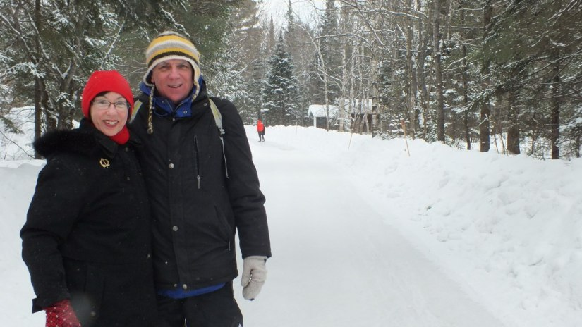Jean and Bob on the ice skating trail at Arrowhead Provincial Park in Ontario