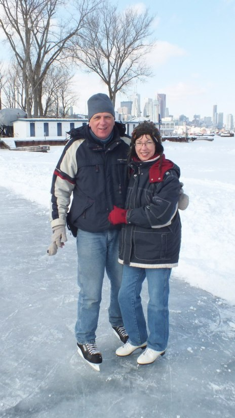 bob & jean skating on lagoon skating rink - ward's island - toronto