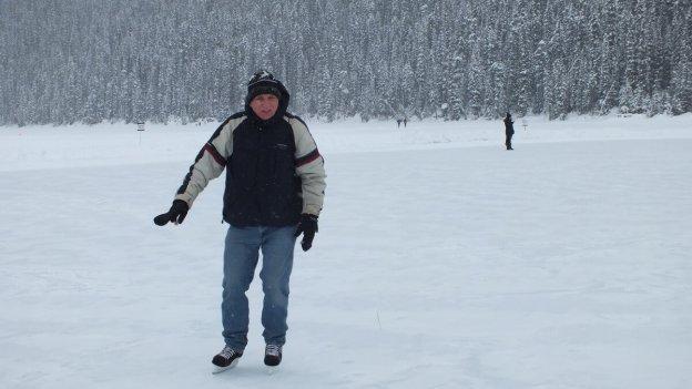 Bob skating at Lake Louise in Banff National Park, Alberta, Canada